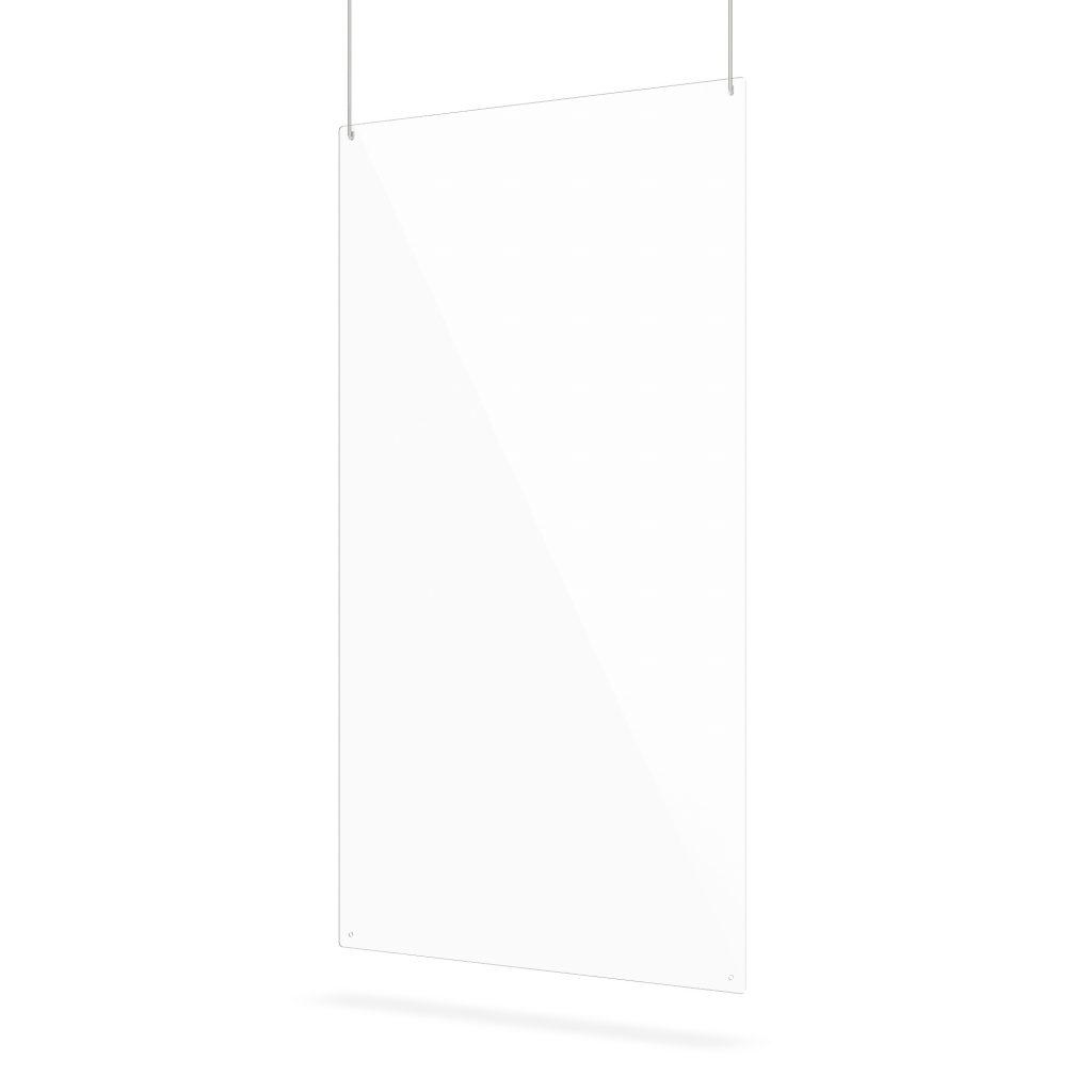 Ecran transparente suspendu en plexiglass avec trous de suspension